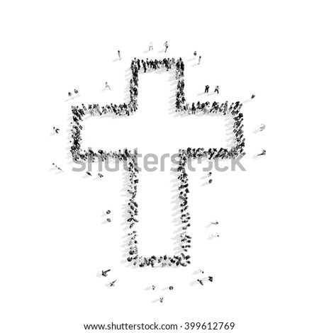 people in the shape of a Catholic cross, religion - stock photo