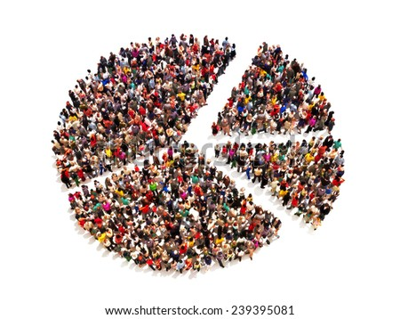 People in the shape of a pie graph on a white background. - stock photo