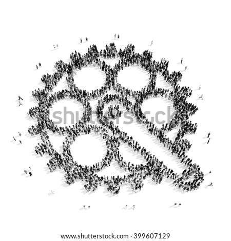 people in the shape of gears - stock photo