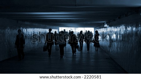 people in the subway pass - stock photo