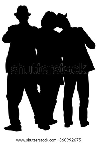 People in theatrical costumes on a white background - stock photo