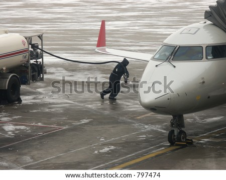 People in tough aviation jobs - stock photo