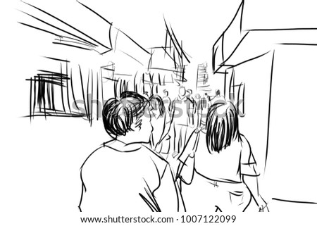 people in urban scene pencil sketch