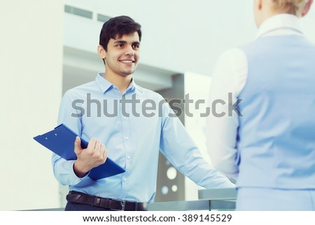 People indoors having talk - stock photo