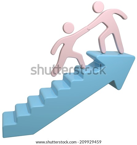 People join together to help solve problem step up arrow stairs - stock photo