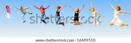 people jumping - stock photo