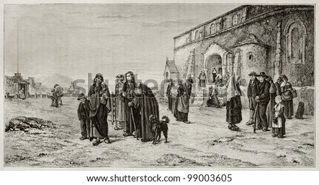 People leaving church in Auvergne, France, old illustration. Created by Berthon, published on Magasin Pittoresque, Paris, 1882 - stock photo