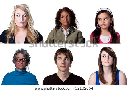 People looking away from the camera, shifty looks - stock photo
