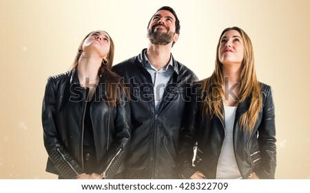 People looking up - stock photo