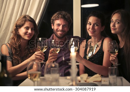 People making a toast - stock photo