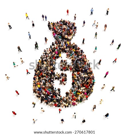 People making or saving money. Large group of people in the shape of a money bag isolated on a white background. - stock photo