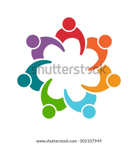 People man logo. Group of seven persons  - stock photo