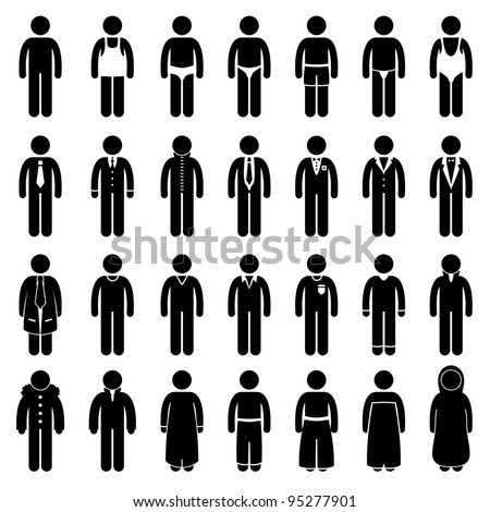 People Man Male Fashion Wear Clothing Icon Symbol Sign Pictogram - stock photo