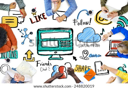People Meeting Social Media Connection Global Communications Concept - stock photo