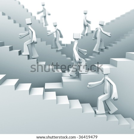 people moving up on staircase 3d illustration - stock photo