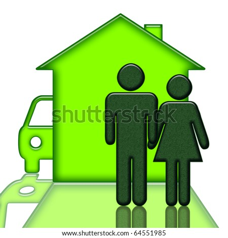 People near house and car over white background - stock photo