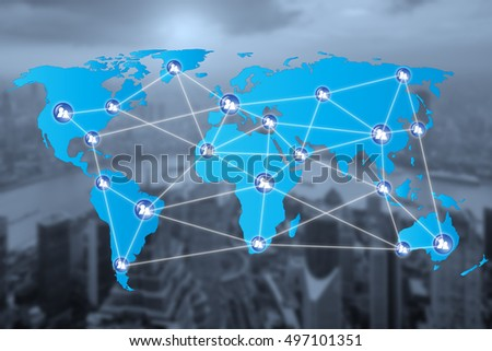 People network connection icons with World map connectionand blur city. Network work connections concept