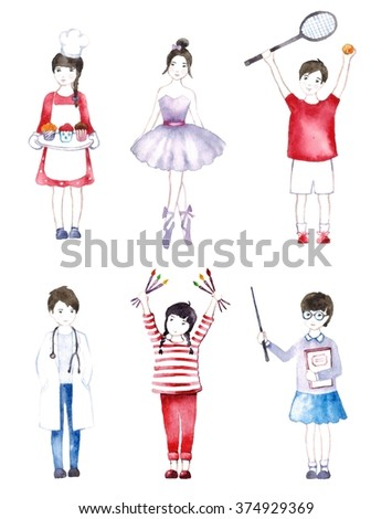 People occupation avatar set. Avatars of different people professions characters. Doctor, sportsman, teacher, ballerina, chef cook, artist isolated illustration - stock photo