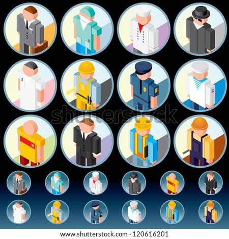 People Occupations. Icons of Lawyer, Medic, Chef, Worker, Officer, Athlete, Salesman etc. - stock photo