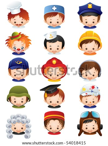 people occupations icons - raster version - stock photo