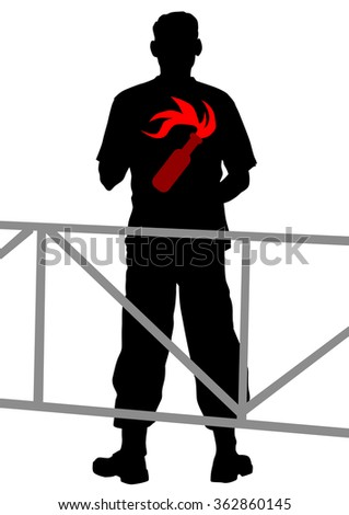 People of anarchist with molotov cocktail on white background - stock photo
