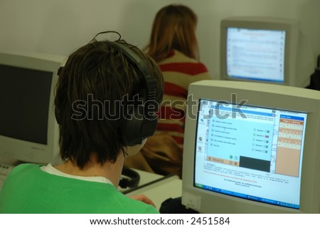 People of customer support department working in a call center