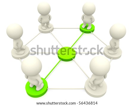 People of 3d people networking - isolated over a white background