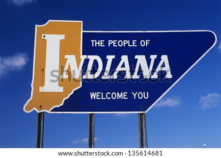 People of Indiana welcome you road sign - stock photo