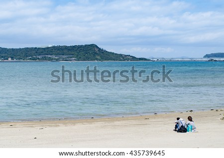 people of sandy beach - stock photo