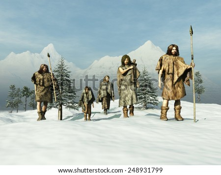 People of the Ice Age - stock photo