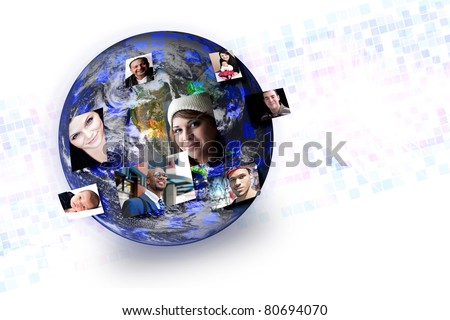 People of the world with their photos popping out of different parts of the earth. Works great for social media technology or outsourcing concepts. Original earth photo courtesy of NASA. - stock photo