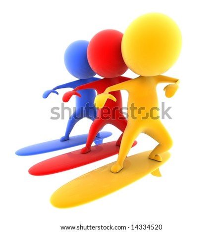 People on boards. - stock photo