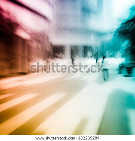 people on city street abstract blur - stock photo