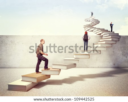 people on 3d books stair cross the wall - stock photo