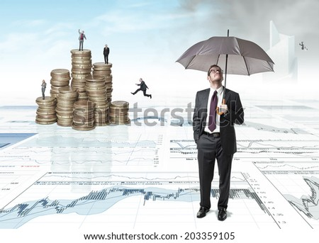people on 3d business background - stock photo