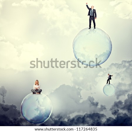 people on 3d soap bubbles on sky - stock photo