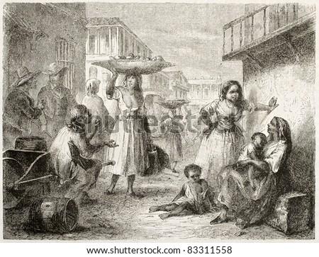 People on street, Havana. Created by Pottin, published on Le Tour du Monde, Paris, 1860 - stock photo