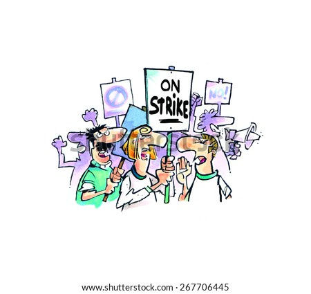 People on strike in a cartoon style. - stock photo