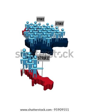People on strike on Thailand map flag illustration - stock photo