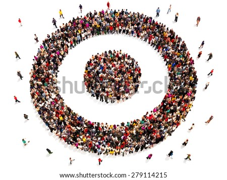 People on target with there goals and carrier choices concept. Large group of people in the shape of a target symbol. - stock photo