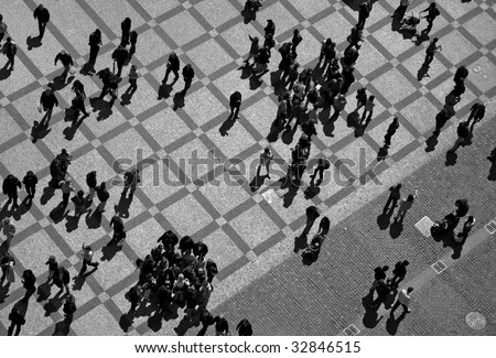 people on the square - stock photo