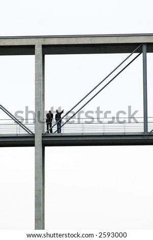 People on walkway - stock photo