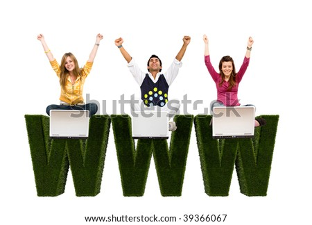 people online isolated sitting on a WWW sign - stock photo