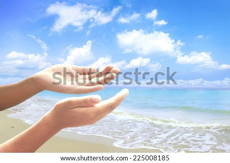 People open empty hands with palms up, over the beach background. Ask Seek Beg Help God Well Relax Soul Pray Dua Hajj Give Child Bless Quran Aura Heal Life Gift Eid Idea Islam Thank World Glow Prayer. - stock photo