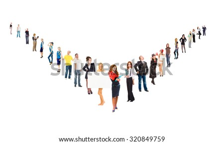 People Order Line of Colleagues  - stock photo