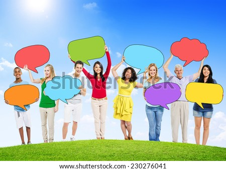 People Outdoors with Empty Speech Bubbles