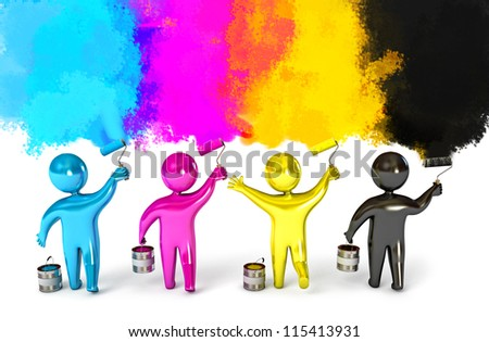 People paint the walls in colorful colors. Paint roller and a bucket. CMYK concept. 3d render - stock photo