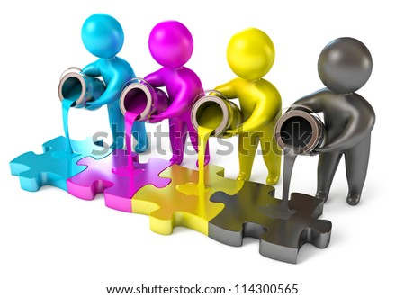 People poured out of the paint bucket. CMYK (cyan, magenta, yellow, black). Isolated on white background. 3d render - stock photo