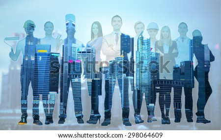 people, profession, qualification, employment and success concept - happy businessman over group of professional workers over city background - stock photo