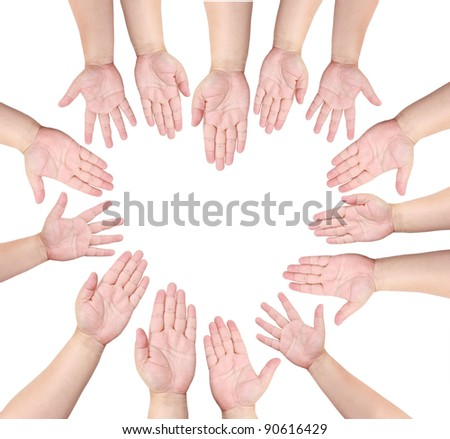 People raise their hand to volunteer in heart shape - stock photo